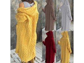 Oblečení - kabát - dámský dlouhý úpletový kabát s kapucí - dámský kabát - svetr