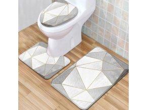 Koupelna - záchod - módní set předložek v různých barvách - koupelnové předložky - záchodové prkénko