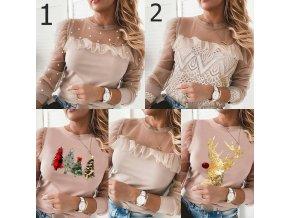 Oblečení - svetr - dámský  módní svetr v béžové barvě s různými vzory - dámské halenky - dámská trička