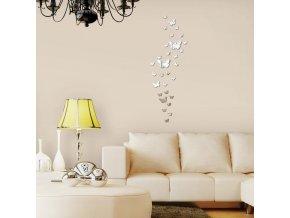3D dekorativní samolepky do interiéru na zeď - motýli/zrcadlo