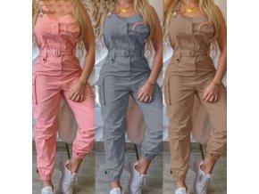 Oblečení - kalhoty - dámské kalhotový overal z příjemného materiálu s páskem - dámské kalhoty - overal