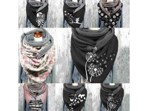 Šátek - dámská módní šátek se sponou s různými vzory - multifunkční šátek - dárek pro ženu