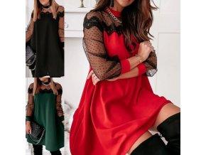 Oblečení - šaty - dámské elegantní šaty s krásně zdobenými rukávy - dámské šaty - společenské šaty