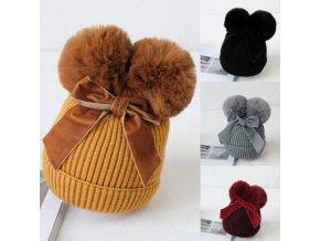 Čepice - dětská krásná čepice zdobená mašlí - zimní čepice - dětské oblečení - výprodej skladu