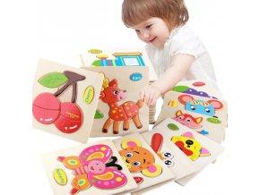 Děti - hračky - dětské dřevěné 3D puzzle s různými obrázky - puzzle - dřevěné hračky
