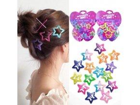 Vlasy - účesy - krásné ozdobné sponky do vlasů ve tvaru motýlů a hvězdiček - sponky  - výprodej skladu