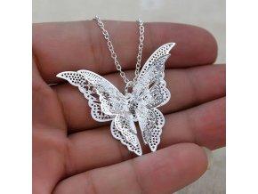 Stříbrný elegantní řetízek s motýlem