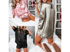 Oblečení - pyžamo - dámské pyžamo - dámský saténový set pyžama kraťasy + tričko - dárek k vánocům - dárky pro ženu