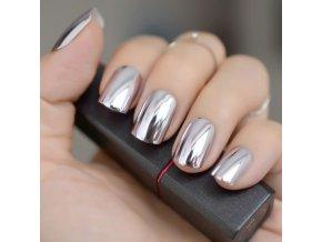 Kosmetika - nehty - nalepovací umělé nehty 24 ks  v metalových barvách  - modeláž nehtů