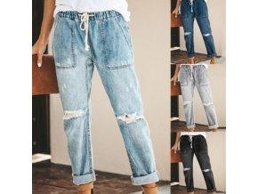 Dámské oblečení - dámské kalhoty - dámské trhané boyfriend kalhoty na zavazování - dámské džíny