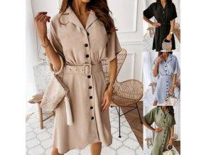 Dámské oblečení - šaty - dámské delší šaty na knoflíky s páskem až 3XL - nadměrné velikosti - dámské šaty