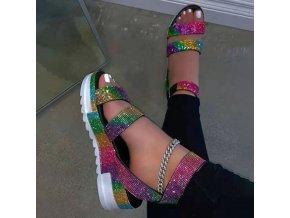 Boty - dámské boty - pantofle - dámské letní páskové pantofle na platformě zdobené kamínky ve dvou barvách - dámské pantofle