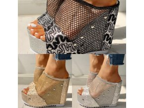 Boty - dámské boty - dámské sandále - dámské sandály na vysokém klínku s krásným zdobením - výprodej skladu