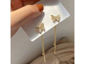 Šperky - náušnice - krásné visací náušnice s motýlkem - motýli - výprodej skladu