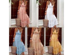 Dámské oblečení  - šaty - dámské dlouhé šaty zdobené krajkou v boho stylu - letní šaty - dámské šaty