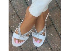 Boty - dámské boty - dámské letní pantofle zdobené kamínky - dámské pantofle - dárek pro ženy