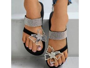 Boty - dámské boty - dámské letní žabky na platformě  zdobené kamínky a motýlem - motýli - dámské žabky