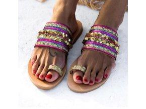 Boty - dámské boty - dámské letní žabky s krásným zdobením v boho stylu - dámské pantofle - slevy dnes