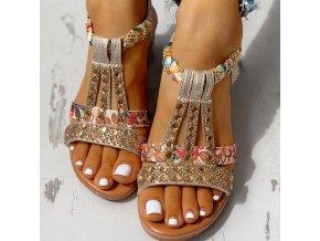 Boty - dámské boty - dámské letní sandály na klínku zdobené kamínky - dámské sandály - dárky pro ženu