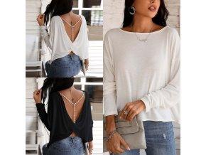 Dámské oblečení - dámská trička - dámské tričko v černé a bílé barvě s odhalenými zády zdobené korálky - dámské halenky