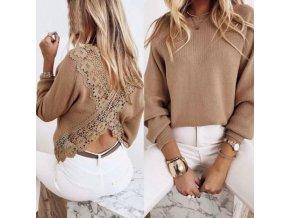 Dámské oblečení - dámské svetry - dámský módní svetr v béžové barvě se zdobením na zádech - výprodej slevy