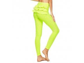 Dámské oblečení - legíny - dámské fitness legíny zdobené volánkem - dámské legíny - sportovní legíny