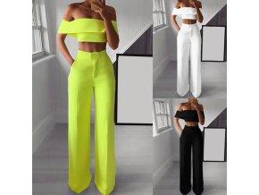 Dámské oblečení - dámský módní set vysoké kalhoty + top - dámské kalhoty - výprodej skladu