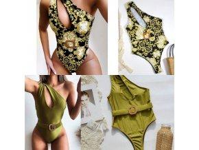 Dámské oblečení - dámské plavky - dámské sexy jednodílné plavky s výkrojem zdobené páskem - plavky - jednodílné plavky