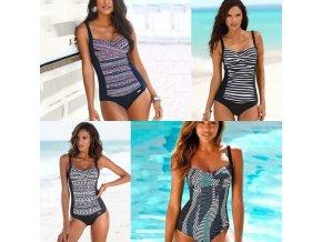 Dámské oblečení - dámské plavky - dámské vzorované  jednodílné plavky na ramínky - jednodílné plavky - výprodej slevy