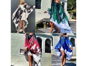 Oblečení - šaty - dámské šaty - letní vzdušné šaty se vzory květin - nadměrné velikosti - letí šaty