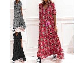 oblečení  - šaty - maxi dlouhé šaty s potiskem lebek - letní šaty - maxi šaty
