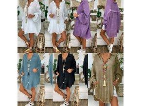 oblečení  - dámské halenky - dámská volná košile s knoflíky z příjemného materiálu - košile - výprodej skladu