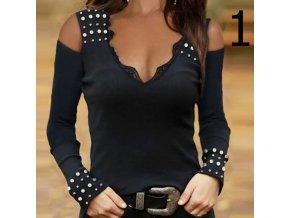 oblečení  - trička - dámské módní trička se zdobením v černé barvě - dámská trička - slevy dnes