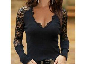 oblečení  - trička - dámské módní trička s krajkovanými rukávy - nadměrné velikosti - dámské tričko
