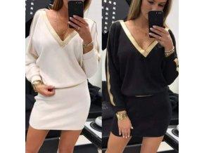 oblečení  - šaty - dámské svetrové šaty se zlatými pruhy - dámské šaty - dárky pro ženu