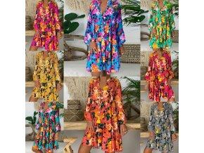 oblečení  - šaty - letní vzdušné vzorované šaty s potiskem květin ve více barvách - nadměrné velikosti - dámské šaty - letní šaty