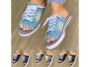 Boty - pantofle - dámské boty - dámské nazouvací pantofle ve stylu plátěných tenisek - dámské pantofle