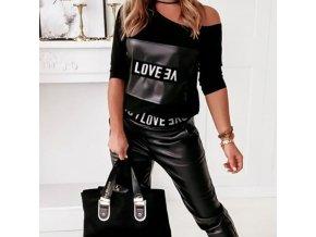 oblečení  - dámské kalhoty - dámský set kalhoty + tričko v koženkovém stylu   - dámská trička - slevy dnes