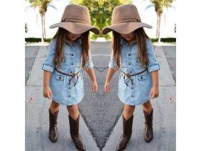 Dětsié oblečení - šaty - dívčí šaty - krásné dívčí šaty v džánovém stylu s páskem - letní šaty - košilové šaty