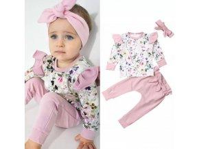 Dětské oblečení - dětský set oblečení pro holčičku v růžové barvě s květinovým potiskme - dětské tepláky - mikiny