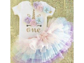 Dětské oblečení - dětský set oblečení pro holčičku na oslavu prvních narozenin - jednorožec - tutu sukně - narozeniny