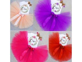 Dětské oblečení - dětský set oblečení pro holčičku na oslavu prvních narozenin s mašlí - tutu sukně - sukně