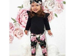 Dětské oblečení - nádherný set pro holčičku v černé barvě s potiskem květin - legíny - dětské body - květiny