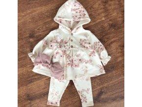 Dětské oblečení - nádherný set pro holčičku kabátek + legíny + mašle s potiskme květin - legíny  kabát