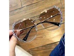 Brýle - velké módní sluneční brýle se kamínky po straně brýlí  - sluneční brýle - dárky pro ženu