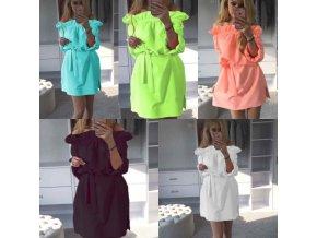 oblečení  - šaty - teplákové šaty s volánky na zavazování - dámské šaty - mikinové šaty