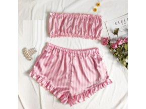 oblečení  - pyžamo - dámský set sexy saténového pyžama v růžové barvě - dámské pyžamo - výprodej skladu