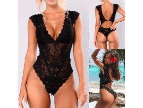 oblečení  - spodní prádlo -body - dámské černé krajkované body s výkrojem na zádech - dámské spodní prádlo