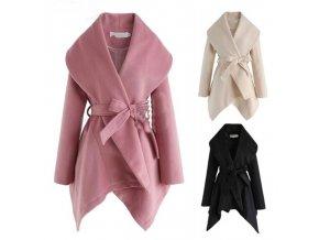 oblečení  - kabát - dámská stylový jarní kabát na zavazování - dámský kabát - dárky pro ženu