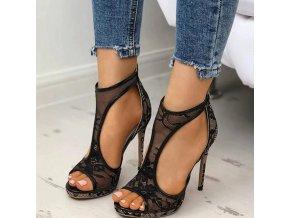 Boty - dámské boty - vysoké sandály na jehlovém podpatku s krajkou - dámské lodičky  - dámské sandály